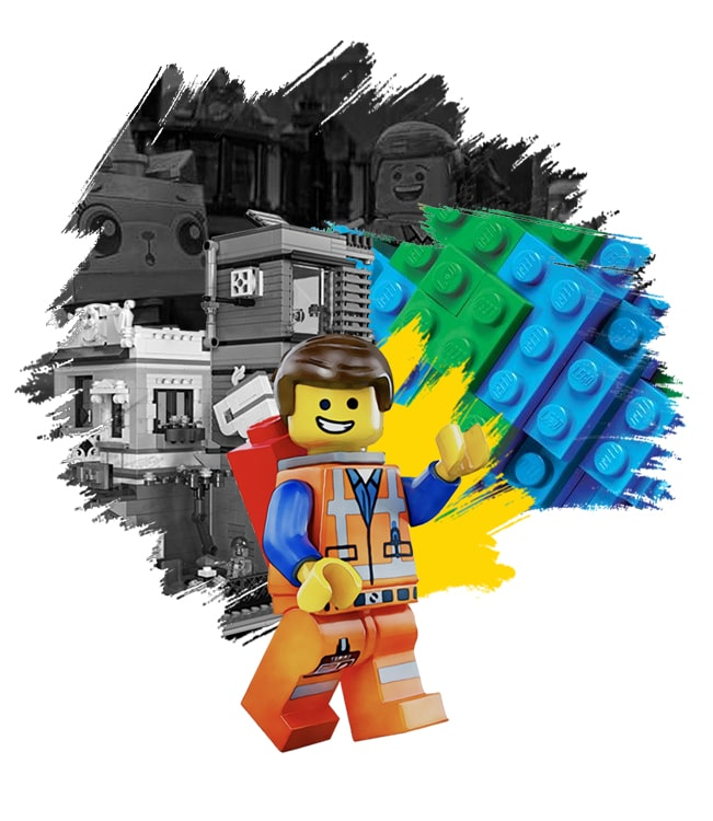 Illustration of a Lego toy. The background consists of building blocks and characters from Lego.